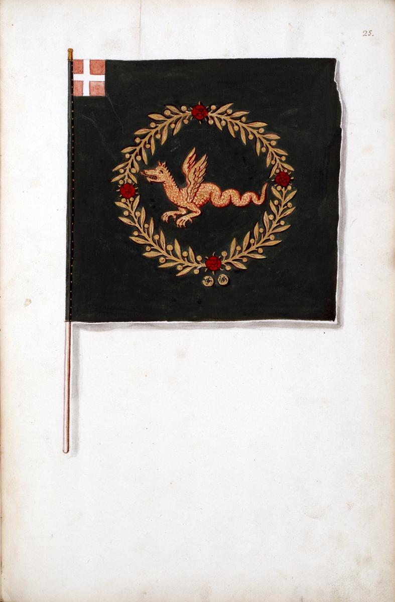 Avbildning i gouache föreställande fälttecken taget som trofé av svenska armén. Den avbildade fanan finns ej bevarad i Armémuseums samling.