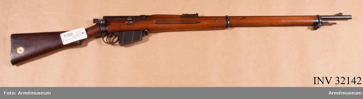 Grupp E II. Modell Lee Madford, MK I. Loppets relativa l:100 kaliber. Kulvikt: 13,95 g.