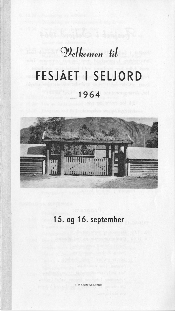 Programbrosjyra frå fesjået i Seljord, 1964.