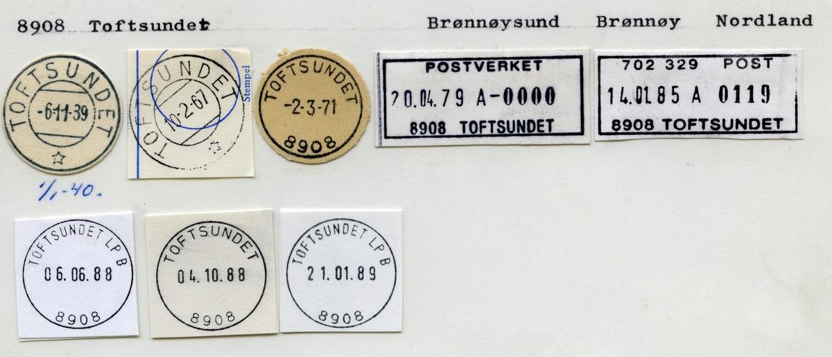 Stempelkatalog 8908 Toftsundet, Brønnøysund, Brønnøy, Nordland