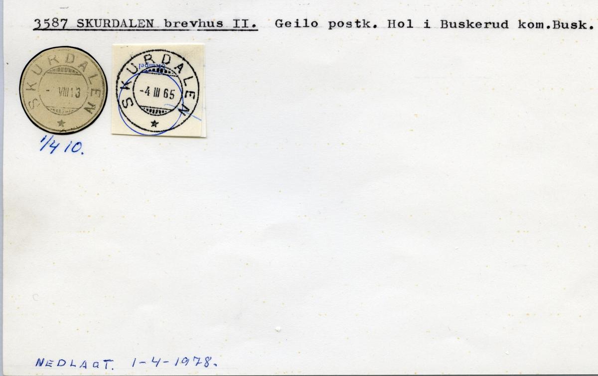 Stempelkatalog  3587 Skurdalen, Hol kommune, Buskerud