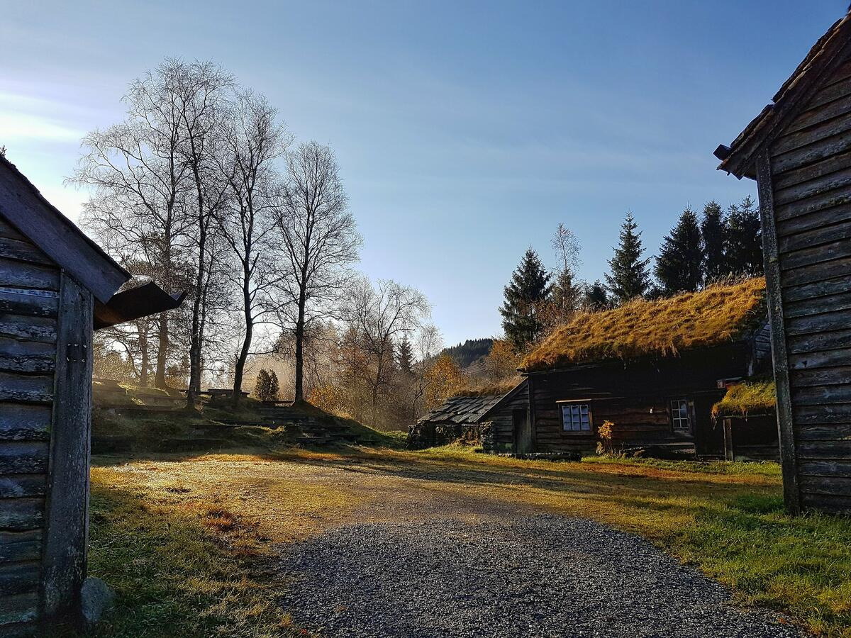 museumsbygningar i solnedgang om hausten (Foto/Photo)