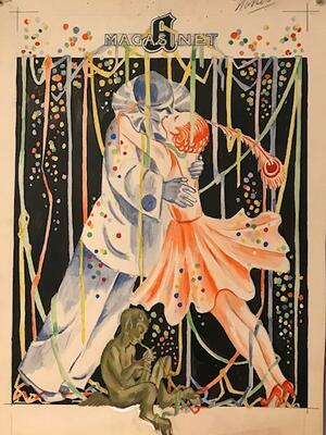 William Lunden, original tegning, A magasinet nyttår, 31x46cm, kr 4000 Selges på vegne av familien. (Foto/Photo)