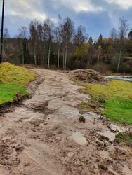 Ny, men midlertidig, anleggsveg må på plass før bygningen kan flyttes til den nye tomta. Foto: Line Helstad / Anno museum. (Foto/Photo)