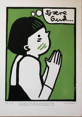 """Kunst av Andreas Brekke. Linotrykk av jente som folder hendene og ber """"Sjære Gud"""". Tittelen under er: """"Gud forsøker å elske alle barn, men de barna som blander sj og kj- lydene, går nok litt hardere skjebner i møte"""" (Foto/Photo)"""