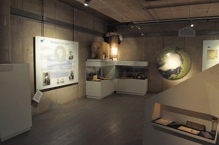 Interiör från dåvarande polarutställningen på Grenna Museum.