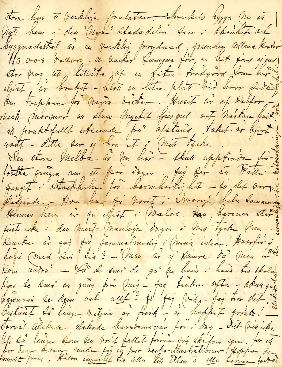 Brev skrivet 1900-11-05 till Fredrique Hammarstedt från vännen Sophie. Brevet består av 16 sidor text på åtta pappersark. Brevet hittades utan kuvert i en anteckningsbok som tillhörde Ninni och Fredrique Hammarstedt. Handskrivet i svart bläck.