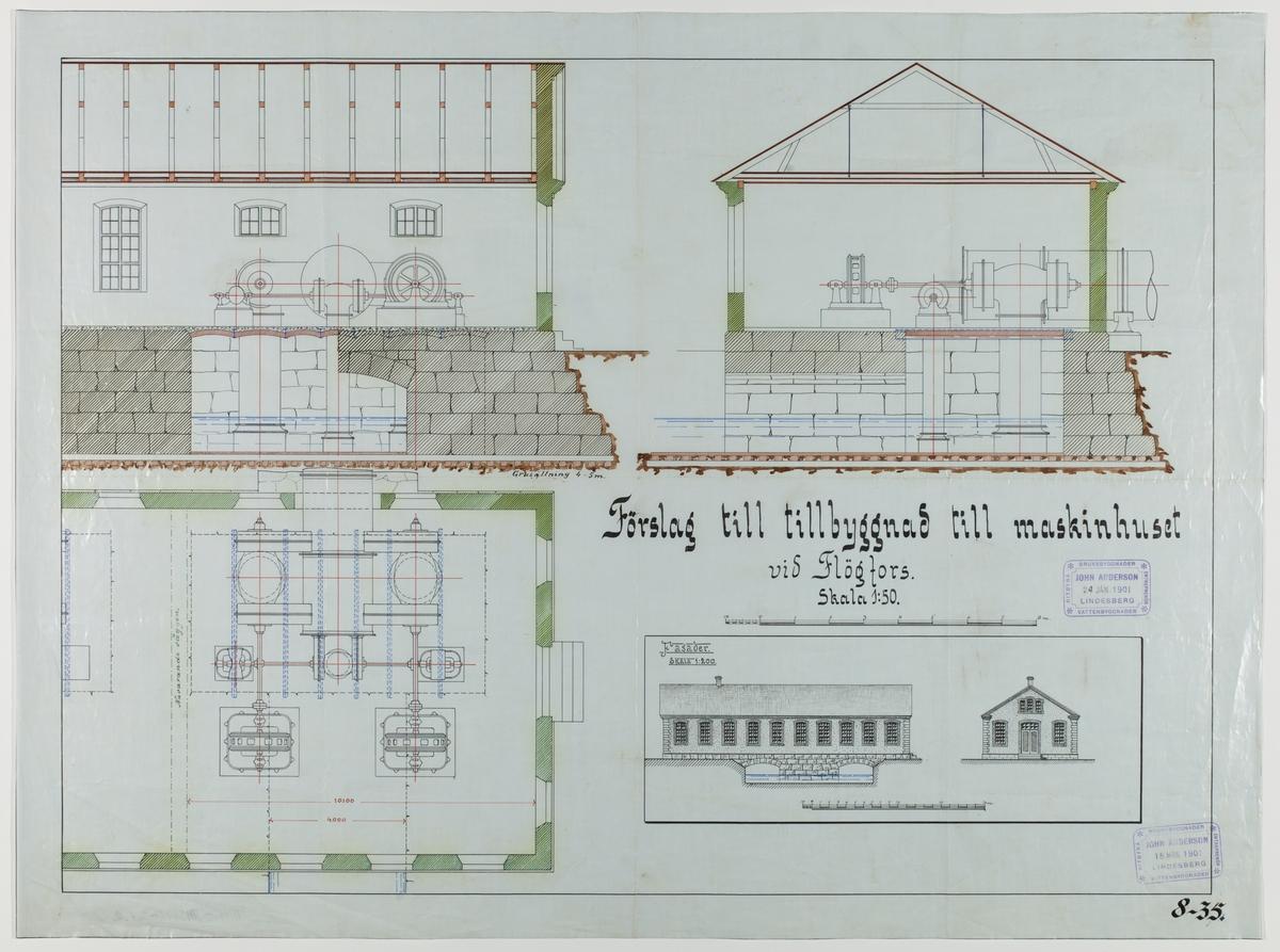 Ritning över förslag till tillbyggnad till maskinhuset vid Flögfors. Skala 1:50.