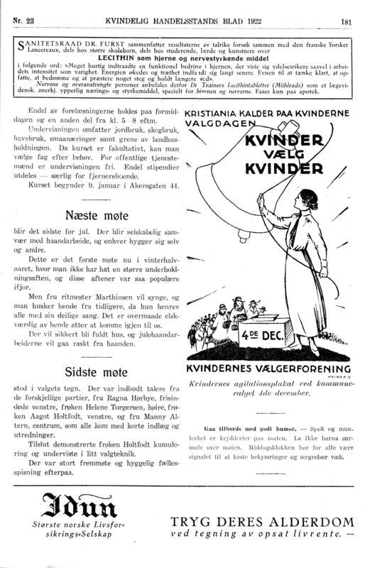 Faksimile fra OKHFs eget tidsskrift Kvindelig Handelsstands Blad fra 1922. (Foto/Photo)