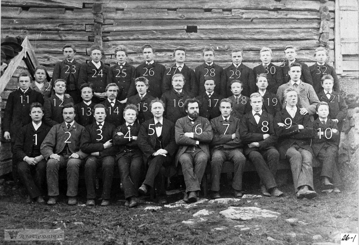 Amtskoleklasse på Langset i Eidsvåg. .. .Gruppebildet viser elevar og lærarar på Langset 1886-87. Alle har fått eit nummer, og 5 er styrar Ole Hansen og 6 andrelærar Anders O. Sand. Elevlista har eg sett opp alfabetisk, og berre dei seks elevane som er identifiserte til no, har fått eit nummer framfor namnet. Talet i parentes er alderen..Aspelund, Ole, Bolsøy (20).Bakke, John, Grytten (19).Bersås, Peder, Tingvoll     (25).Bjering, Kristian, Veøy (15).Brevik, Peter, Grytten (18).Brudeset, Ole, Voll (18).Bugge, Elias, Nesset (16).Bø, Erik, Voll (20).Dahle, John J., Grytten (19).Frisvold, Jonas, Eid (19).Gangnat, Magnus, Tingvoll (19).Gjelsten, Peder, Vestnes (19).Gussiås, Torstein, Nesset (19).Gjerde, Erik, Voll (19).Hanset, Jakob A. (Nesset) (16).Heen, Aslak, Grytten (19).Heen, Knut, Grytten (19).Heen, Ørger, Grytten (19).Harham, Peter, Haram (16).Hole, John O., Grytten (18).Holm, Halvor, Veøy (17).14 Jakobsen Talset, Ole, Nesset (22).Kavli, Erik, Grytten (20).Moen, Ole J., Voll (20).Moen, Ole O., Voll (19).Lange, Didrik, Nesset (15).Nerland, Didrik, Nesset     (22).Nerland, Endre, Nesset     (17).Rekdal, Bjarte, Vestnes     (17).Rød, Augustinus, Nesset (18).Rød, Knut K., Nesset (20).Skjong, Laurits, Haram (23).17 Stranden, Endre, Nesset (18).Strømme, Just, Eid (19).Stubø, Ole, Nesset (27).Sølsnes, Lars, Nesset (17).Torvik, Valdemar, Eid (16).8 Toven, Halvor K., Nesset (18).Unhjem, Peter, Grytten (18).Vorpenes, Kristen, Nesset (17).20 Østigård, Henning, Nesset (19).22 Østigård, Oluf, Nesset (19).9 Aabak, Lars, Tingvoll (20).Aakre, Hans, Haram (25).Aarset, Halvor, Veøy (16)