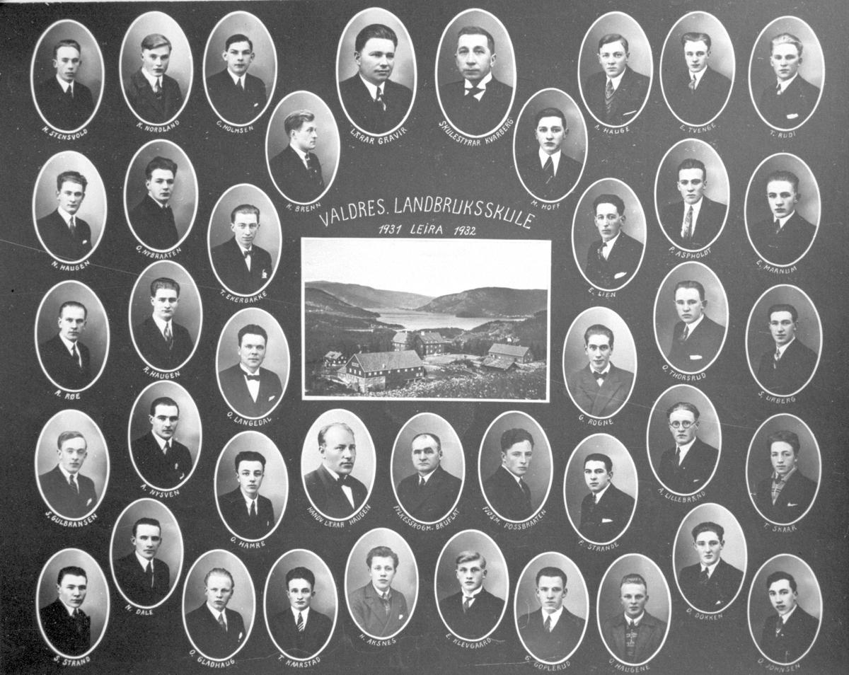 Elevbilete frå Valdres landbruksskule, 1931/32.
