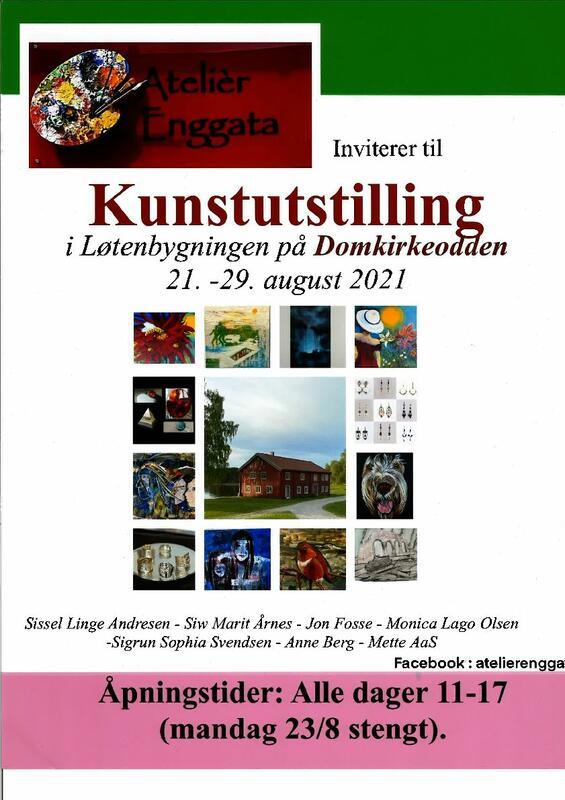 Plakat fra Atelier Enggata som har kunstutstilling i Løtenbygningen på Domkirkeodden (Foto/Photo)