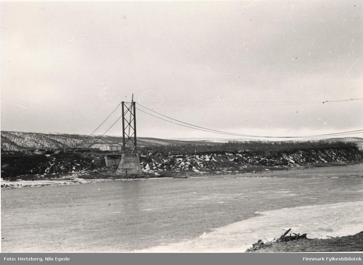 Arbeidet foregår på Tana bru, 1947. Strekking av kabler. Oversikt over vestre tårn. Se også bildene 280-312.