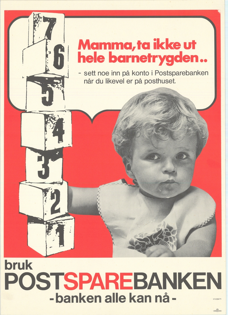 Tosidig plakat med bildemotiv av et lite barn med byggeklosser på rød bakgrunn. Tekst på bokmål og nynorsk på hver sin side.