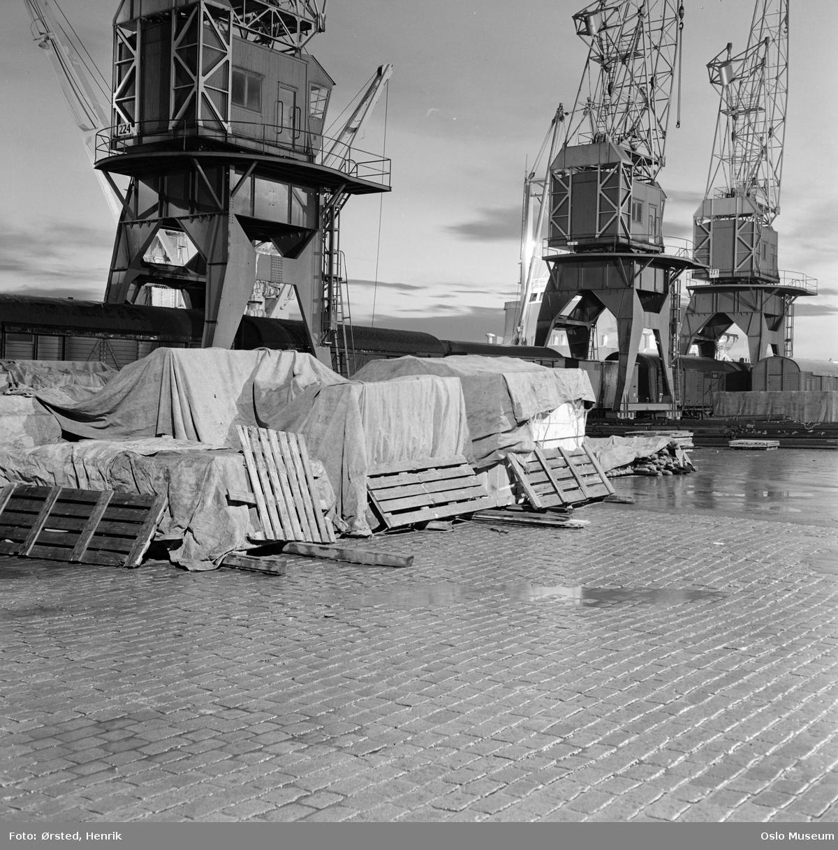 havn, natt, brostein, kraner, paller, jernbanevogner
