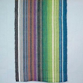 """Löparväv """"Från kust till kalfjäll"""" beställt av Landstinget till landstingsmötet 1975. Pris: 75:- per meter. Vävt ca 1000 m av ca 14 väverskor ute i byarna. Varp randad oregelbundet av blått, ljusblått, grönt, ljusgrönt, blågrönt, grått, mörkbrunt, brunt, rödbrunt, blålila, lila och blekt cottolin 22/2. Till inslag oblekt towgarn.Två dubletter finns; den ena med måtten l=870 mm och b=275 mm, och den andra med måtten l=790 mm och b=280 mm."""