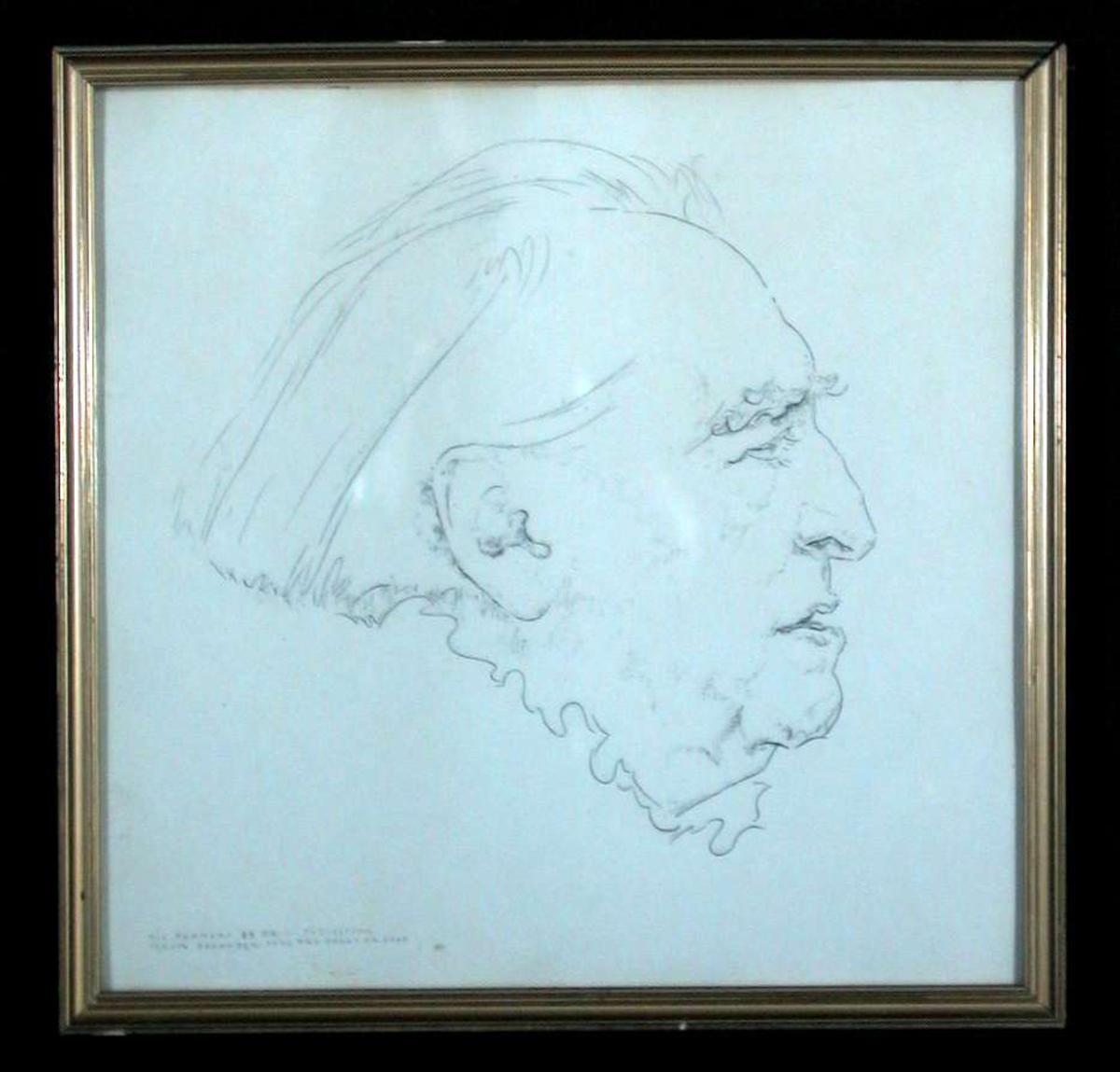 En eldre kvinne tegnet i profil.