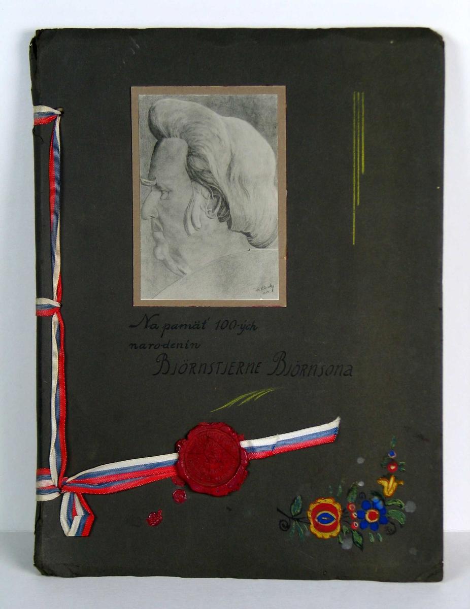 Album med flere sider maskinskrevet tekst og bilder fra folkeliv i Stara Pazova. Omslaget er i grå kartong med et tegnet portrett (foto) av BB øverst.  Innbinding med ripsbånd i rødt, hvitt og blått. Tegnede blomster og lakksegl. Bildetekstene har tysk oversettelse.