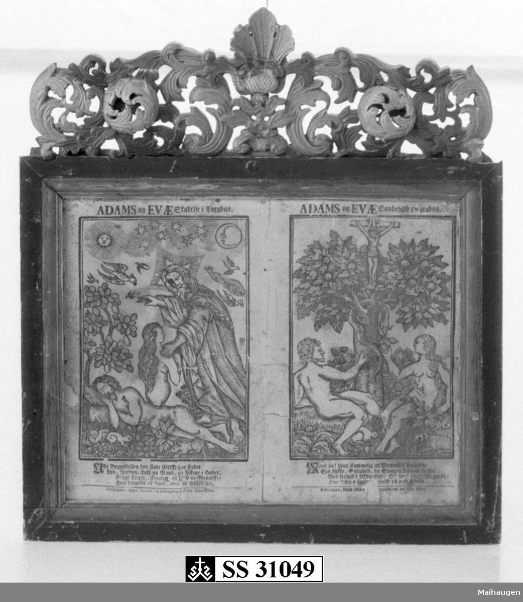 Fotostatkopi med motiv av Adam og Evas skapelse i Paradiset og syndefallet. Det originale trykket er magasinert.