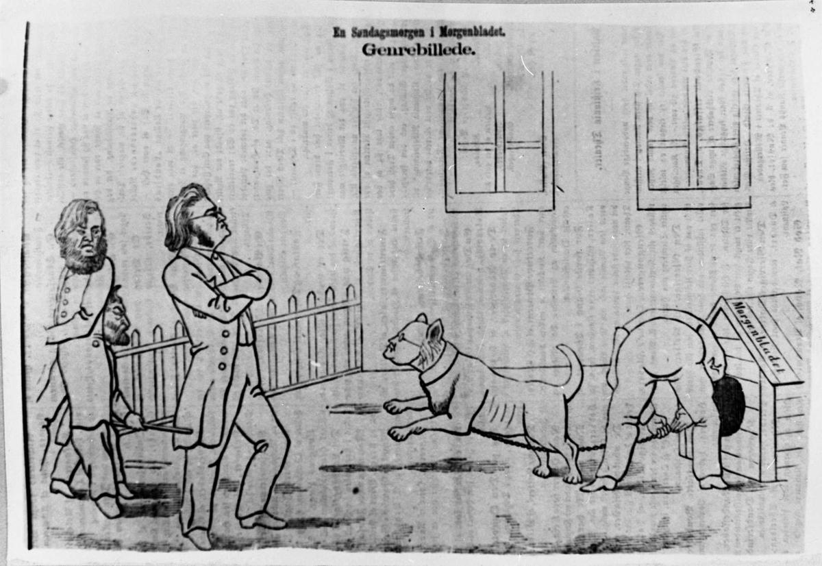 Karikatur, Bjørnson, hund, tegning, Morgenbladet,
