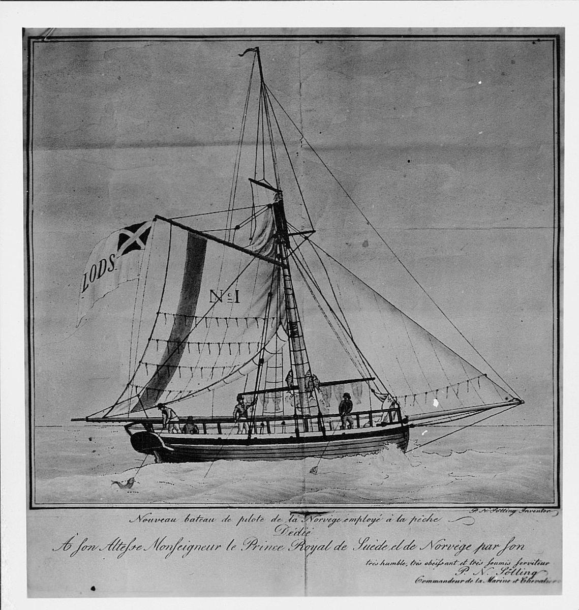 foto av tegning, båt Prins Rojal