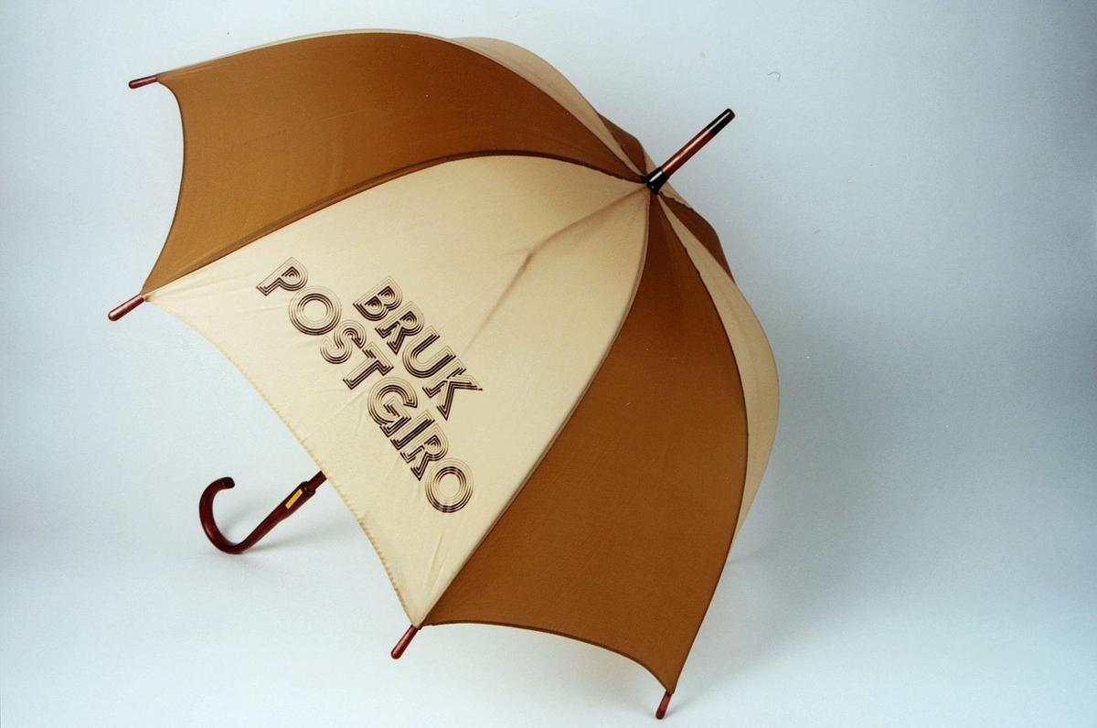 Postmuseet, gjenstander, profilartikkel, paraply, Bruk Postgiro, reklameartikkel for Postgiro.