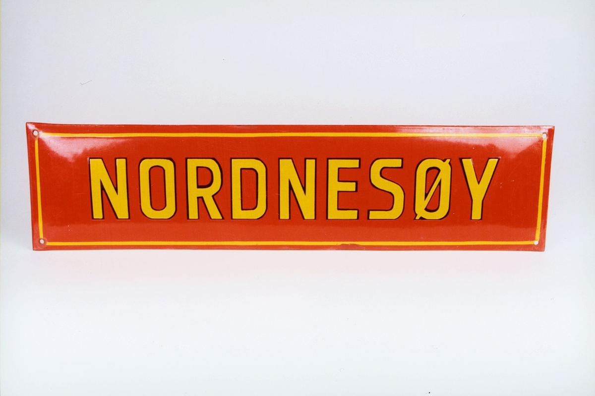 Postmuseet, gjenstander, skilt, stedskilt, stedsnavn, Nordnesøy.