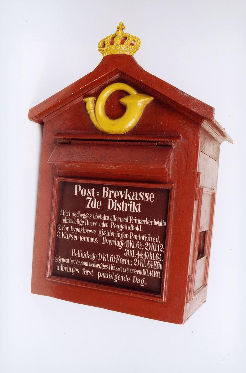 postmuseet, gjenstander, postkasse, Post-Brevkasse 7de Distrikt