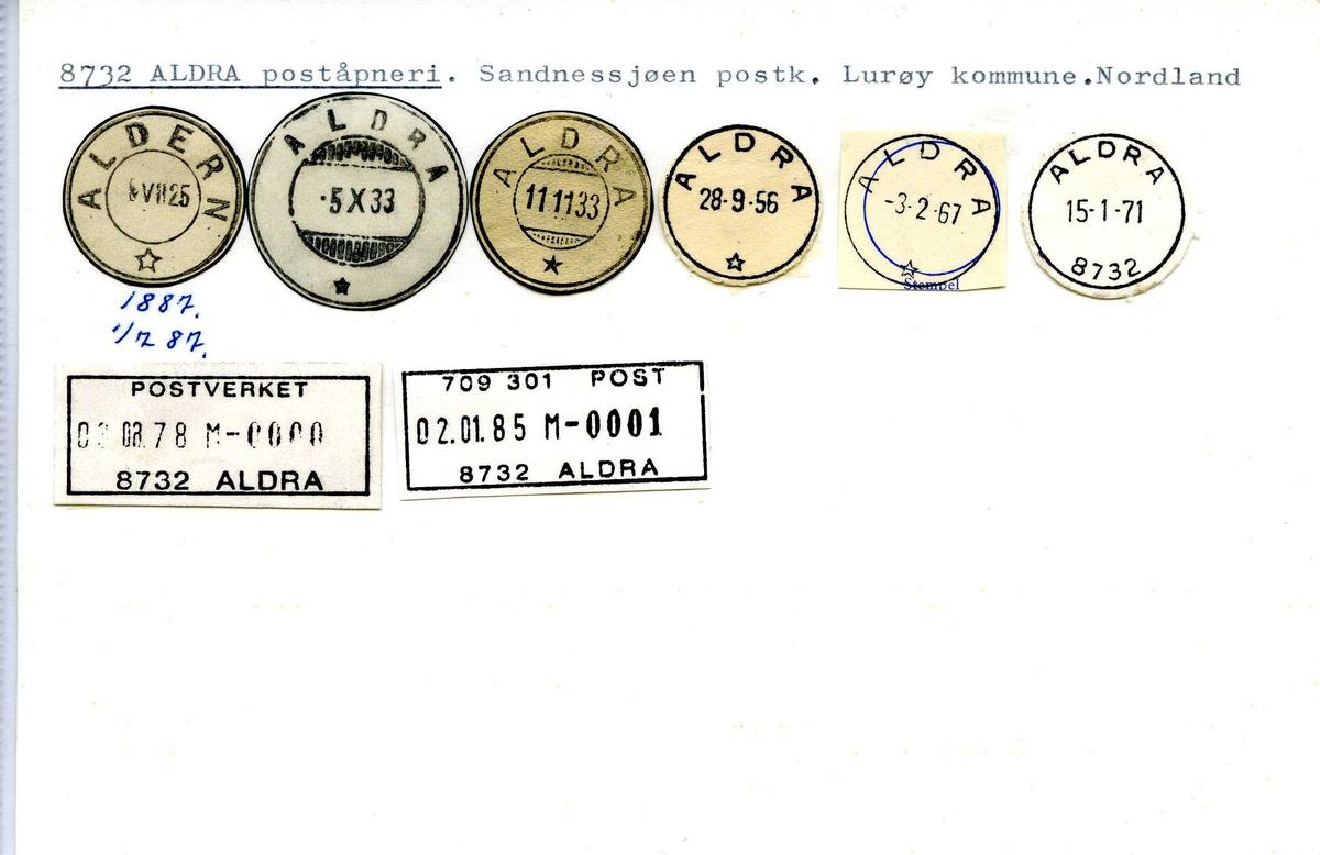 Stempelkatalog,  Aldra (Aldern) poståpneri, Sandnessjøen postsktr., Lurøy komm., Nordland