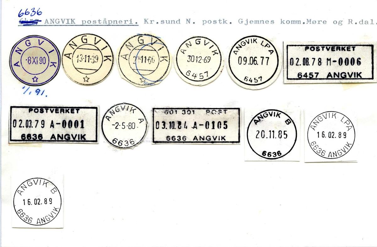 Stempelkatalog,  6636 Angvik poståpneri, Kristiansund N. postkontor,Gjemnes kommune, Møre og Romsdal