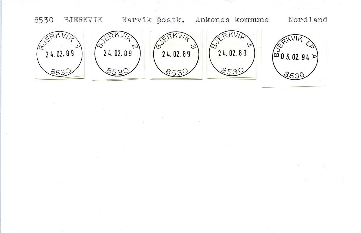 Stempelkatalog, 8530 Bjerkvik, Narvik postkontor, Ankenes kommune, Nordland fylke.