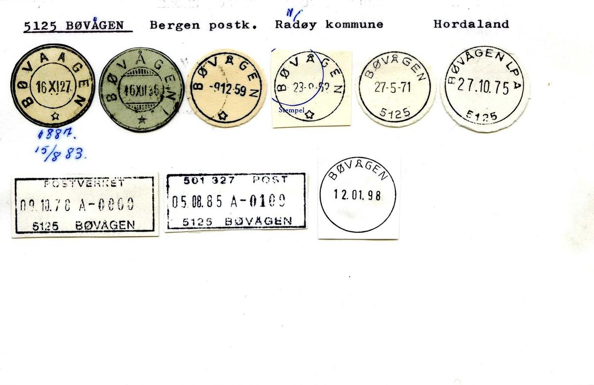 Stempelkatalog, 5125 Bøvågen, Bergen postk, Radøy komm, Hordaland