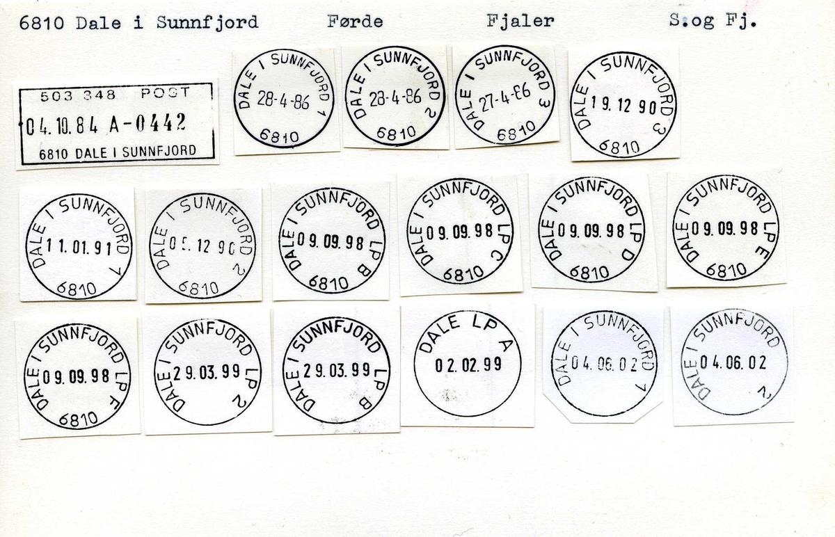 Stempelkatalog,6810 Dale i Sunnfjord, Førde, Fjaler, S.og Fj. Dale, Dale i Holmedal, Dale i Søndfjord)
