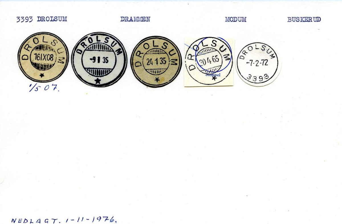Stempelkatalog, 33393 Drolsum, Drammen, Modum, Buskerud