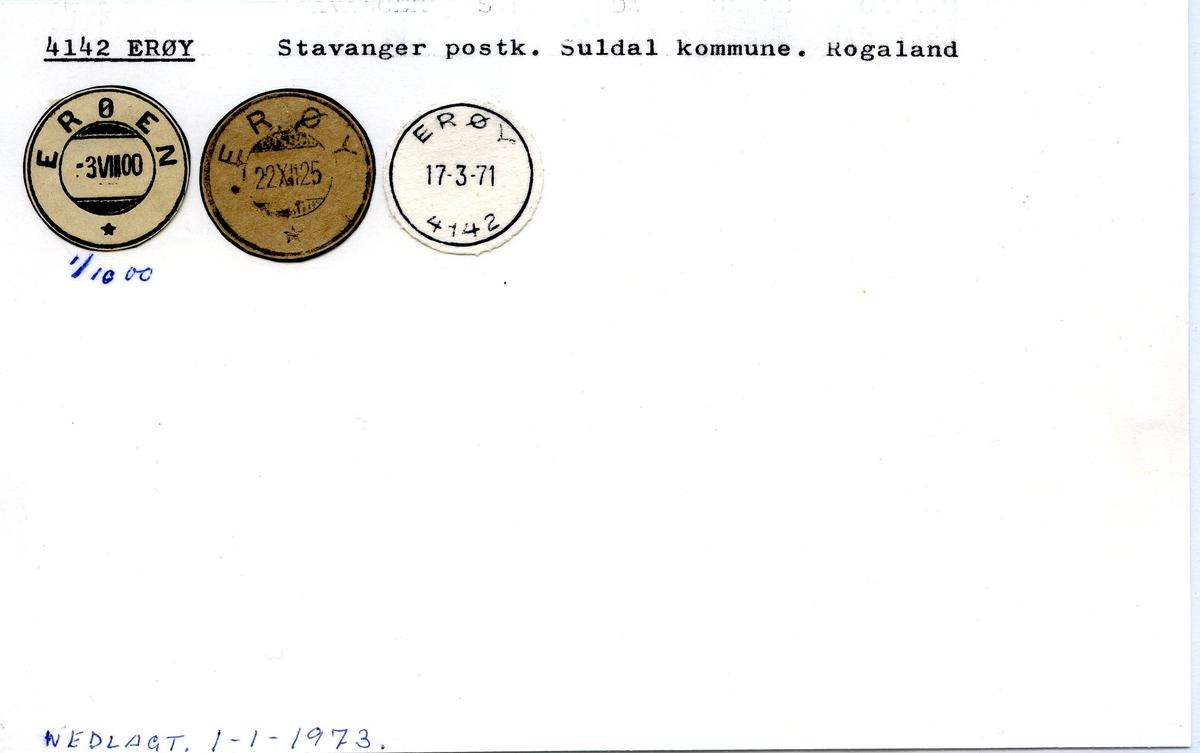 Stempelkatalog,4142 Erøy, Stavanger postk., Suldal komm., Rogaland