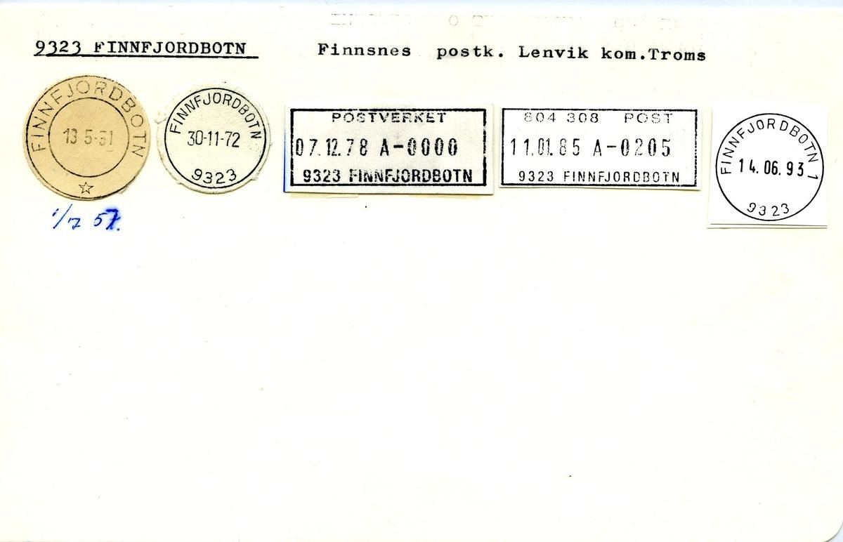 Stempelkatalog, 9323 Finnfjorbotn, Finnsnes postkontor, Lenvik kommune, Troms fylke.