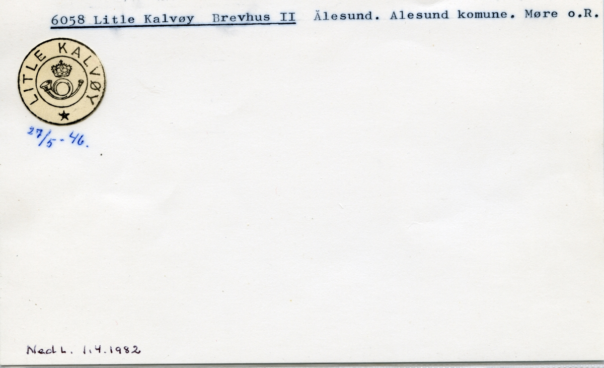 Stempelkatalog, 6058 Litle Kalvøy, Ålesund, Ålesund kommune, Møre og Romsdal