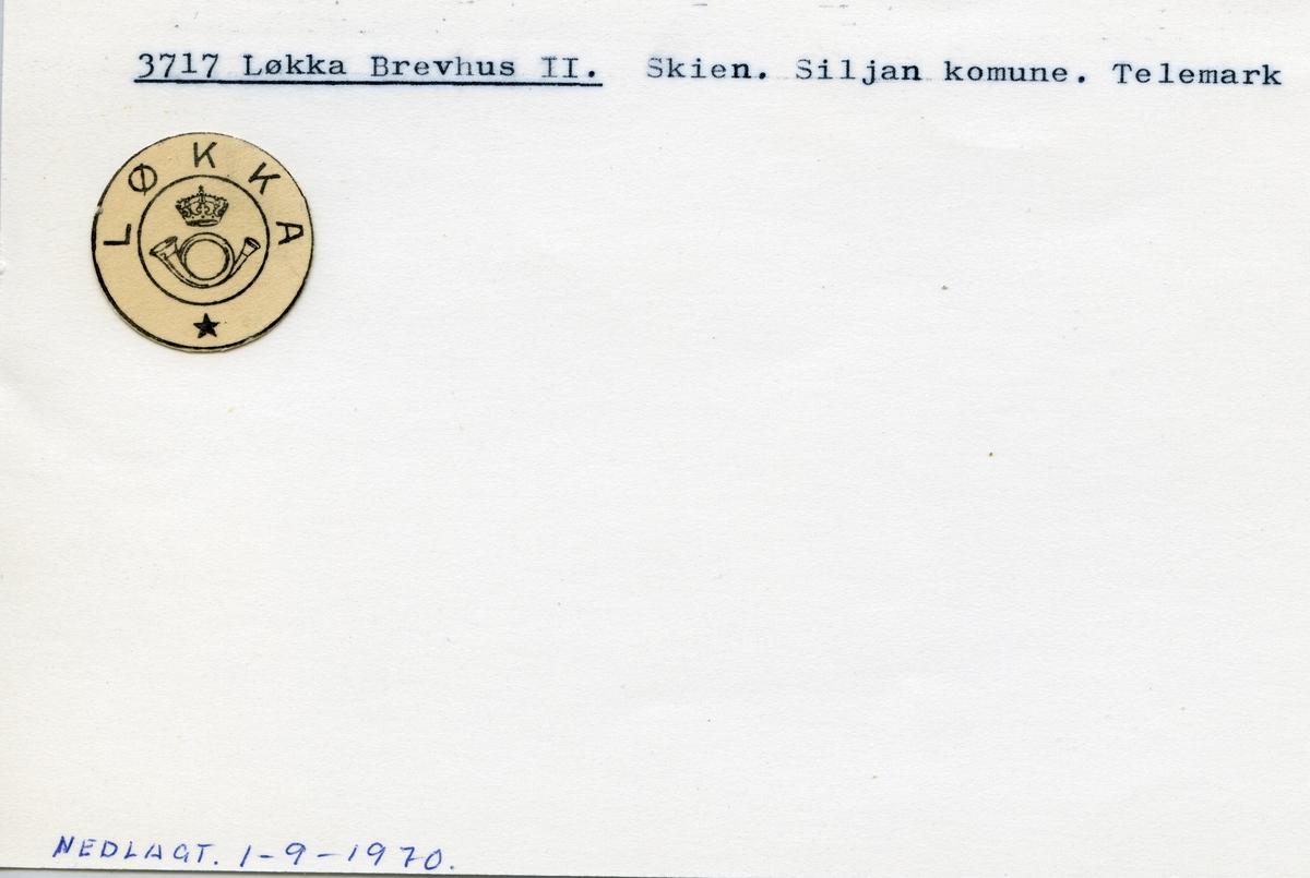 Stempelkatalog,3717 Løkka Brevhus II, Siljan kommune, Telemark