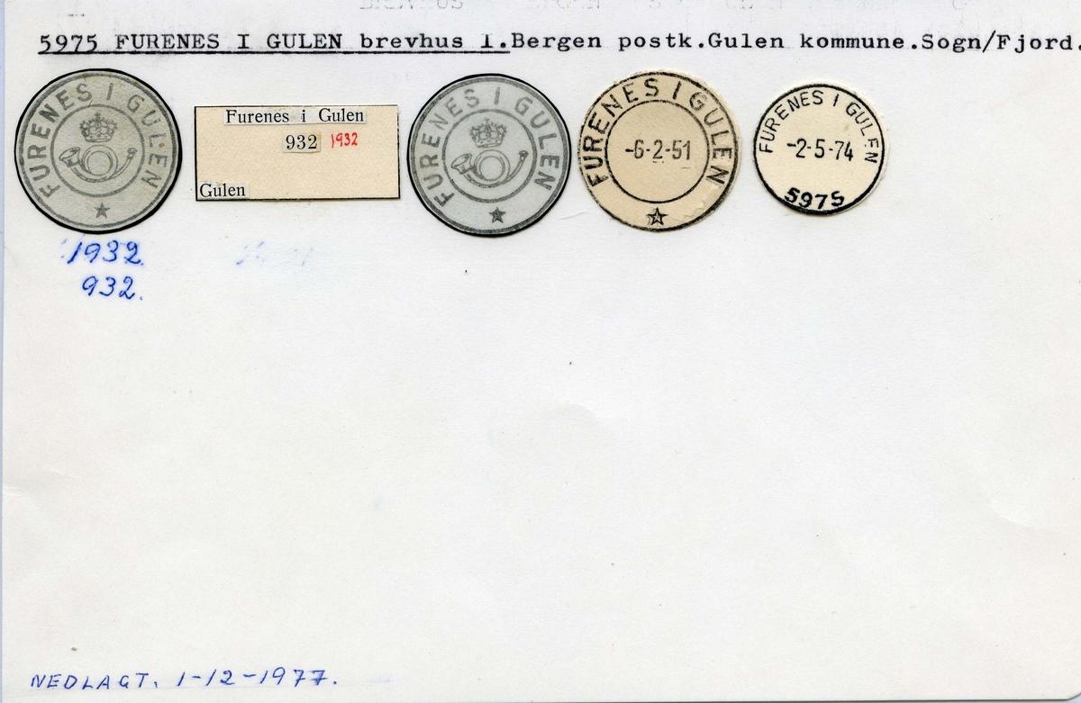 Stempelkatalog.5975 Furnes i Gulen, Bergen postk., Gulen kommune, Sogn og Fjordane