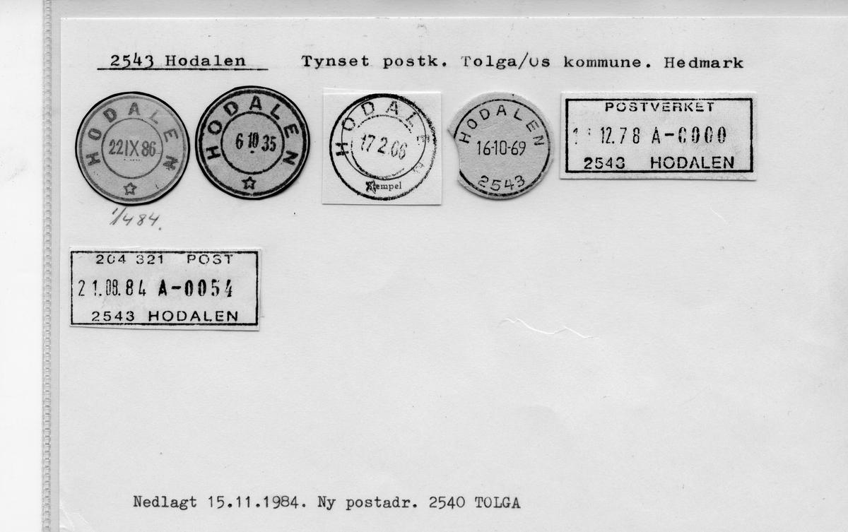 Stempelkatalog 2543 Hodalen, Tynset, Tolga, Hedmark