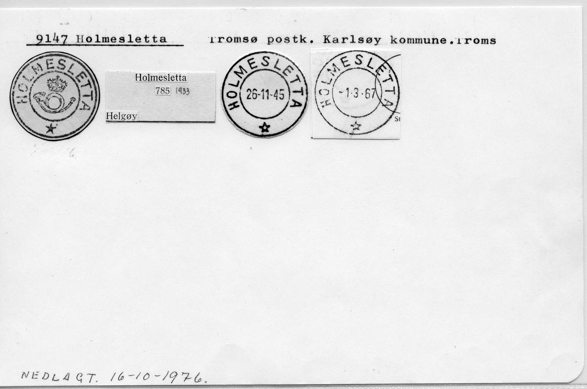 Stempelkatalog. 9147 Holmesletta. Tromsø postkontor. Karlsøy kommune. Troms fylke.