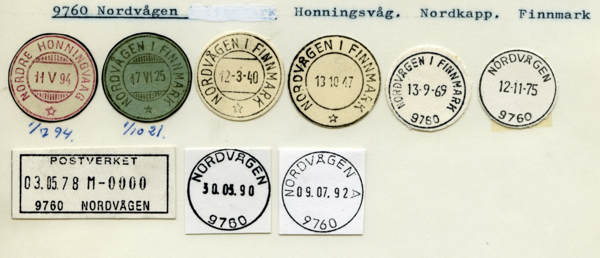 Stempelkatalog. 9760 Nordvågen. Honningsvåg postkontor. Nordkapp kommune. Finnmark fylke.