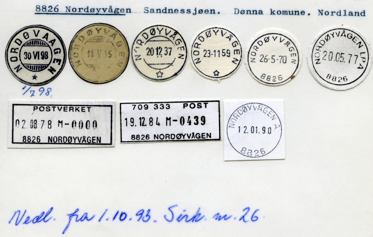 Stempelkatalog. 8826 Nordøyvågen. Sandnessjøen postkontor. Dønna kommune. Nordland fylke.