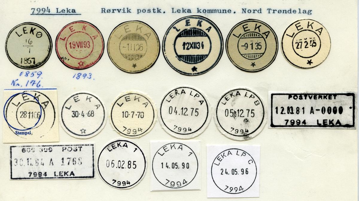 Stempelkatalog 7994 Leka (Lekø), Rørvik, Leka, Nord-Trøndelag