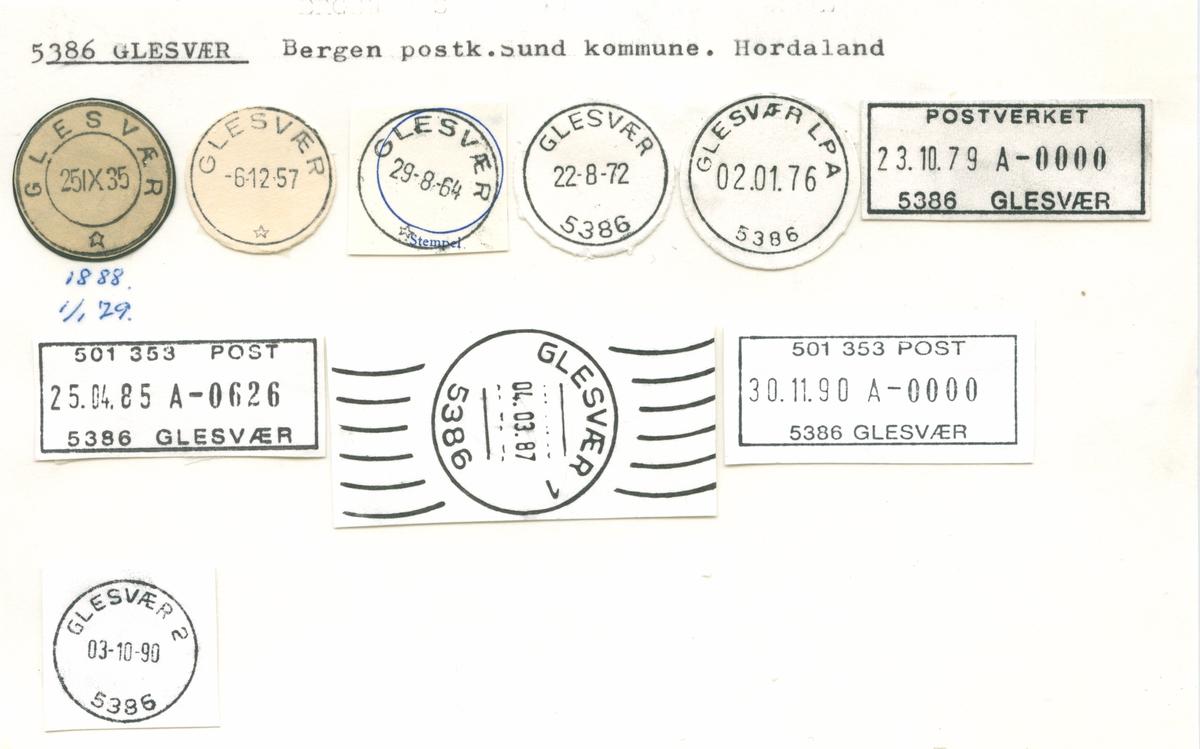 Stempelkatalog 5386 Glesvær, Bergen, Sund, Hordaland