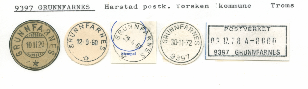 Stempelkatalog 9397 Grunnfarnes, Harstad, Torsken, Troms
