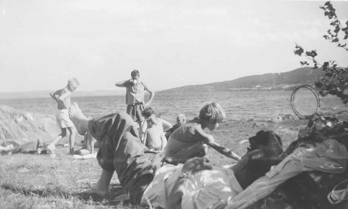 Søndagsutflukt på stranda ved Øyeren.  Familietur.