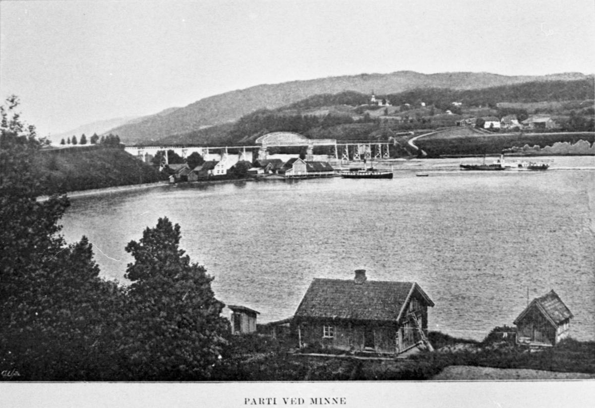Minnesund – før 1923. Skibladner til høyre.