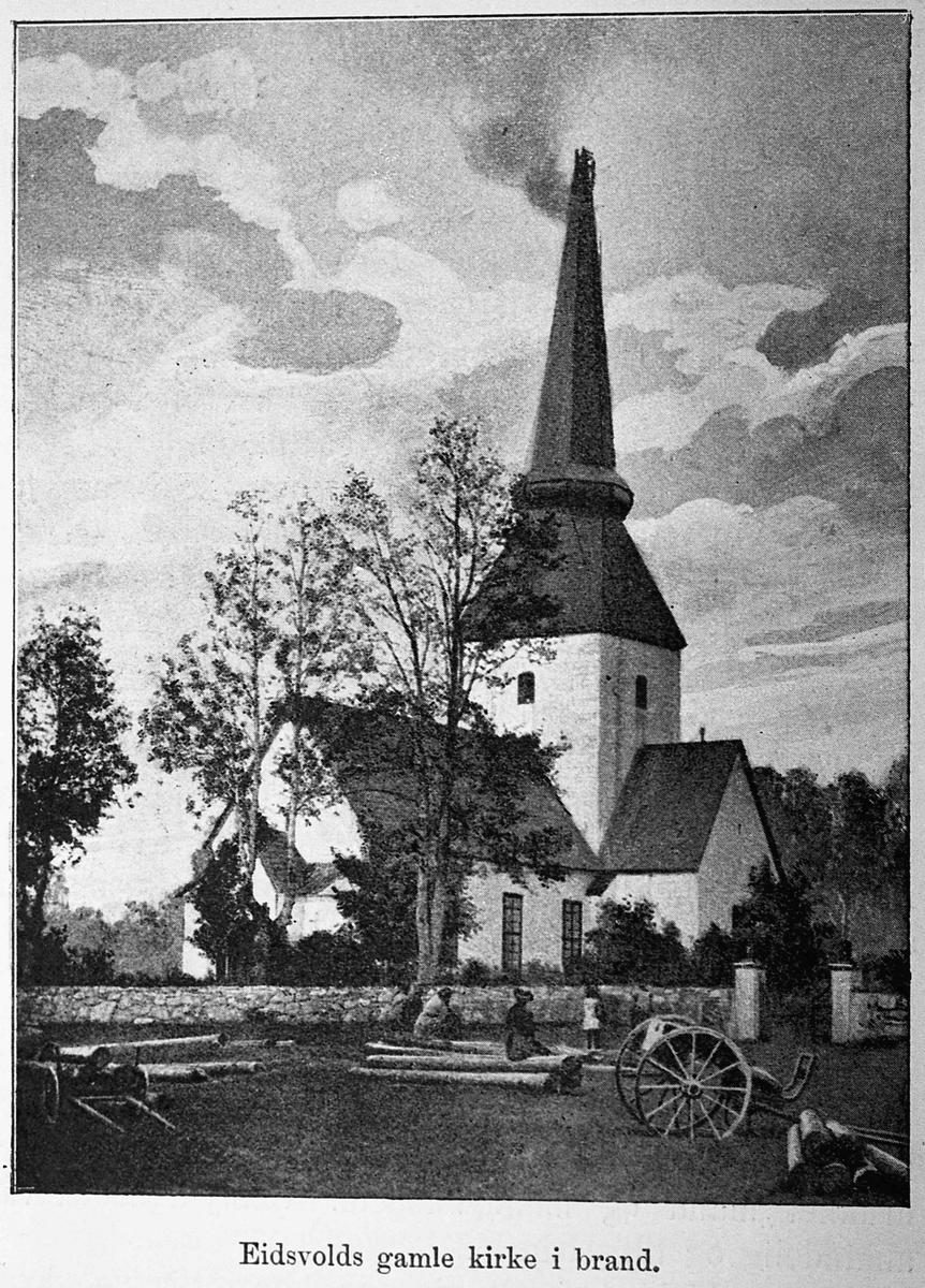 Eidsvoll kirke i brann i 1883
