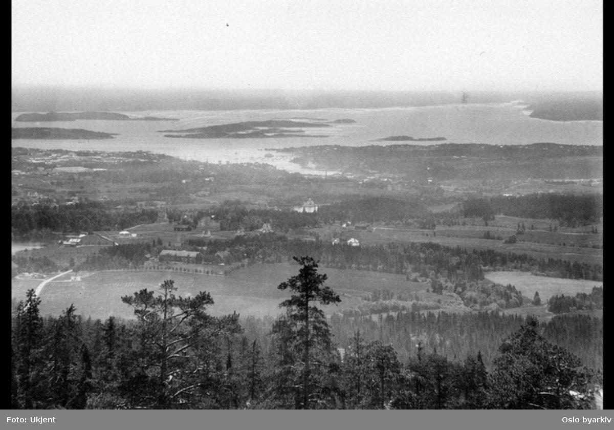Fra Voksenkollen?, Holmendammen midt på bildet med Frognerkilen bak, Oslofjorden i bakgrunnen
